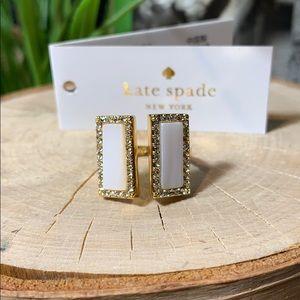 Kate Spade ring gold white adjustable New! 6–7–8